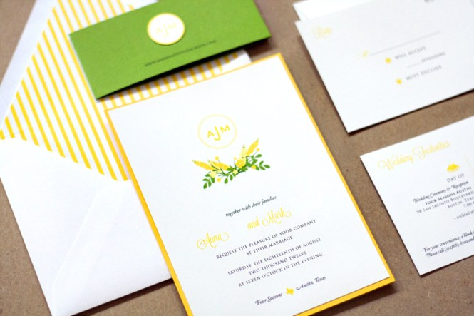 Preppy Yellow And Green Wedding Invitations
