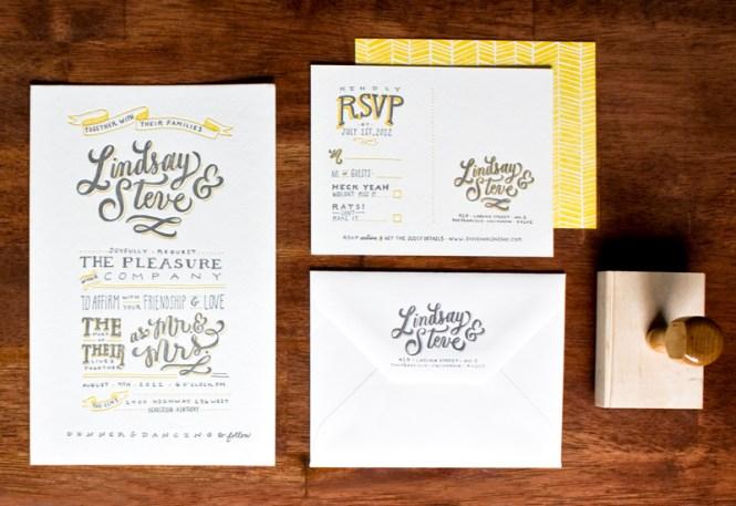 Lindsay Steve S Hand Lettered Wedding Invitations