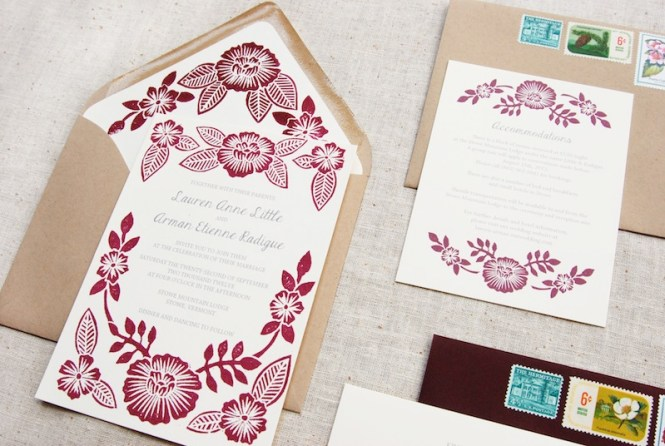 Lauren Arman S Fl Block Printed Wedding Invitations