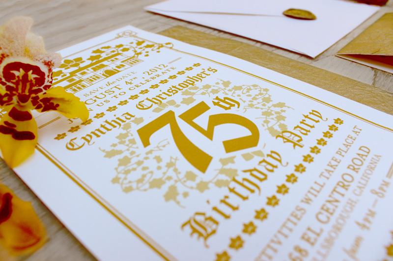 elaborate gold 75th birthday invitations