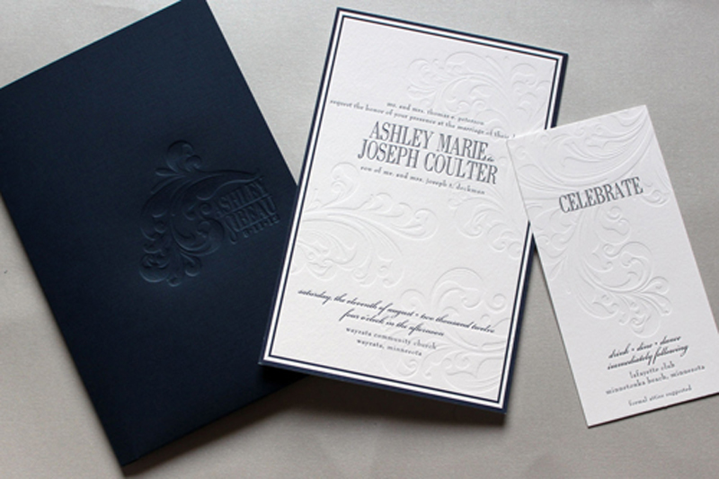 Clic Navy Debossed Wedding Invitations By Gretchen Berry Design Co Via Oh So Beautiful Paper