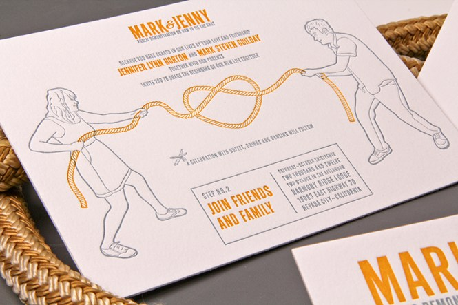 Jenny Mark S Tie The Knot Letterpress Wedding Invitations