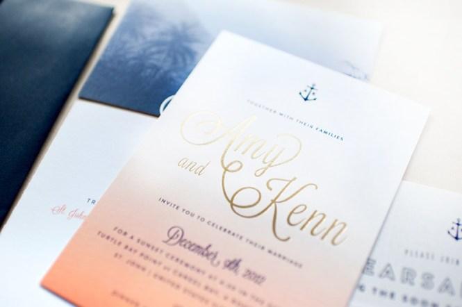 Gold Foil Nautical Wedding Invitations