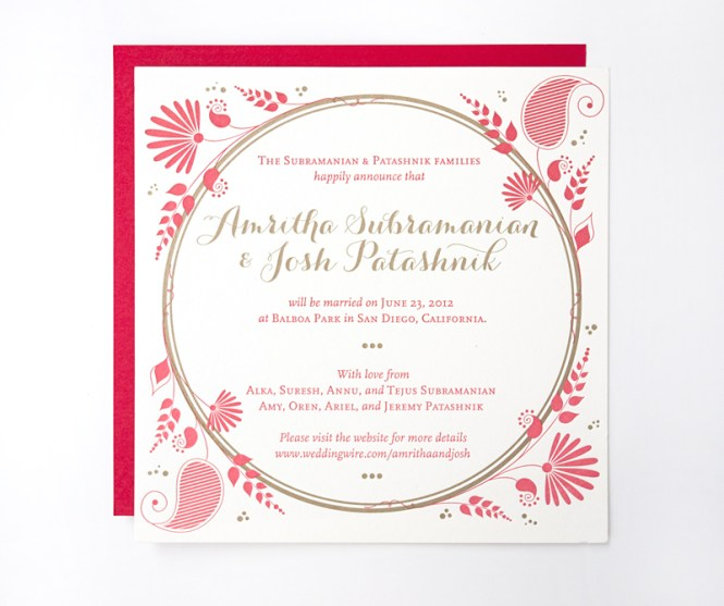 Indian Tradition Red Gold Silk Fabric Wedding Invitation