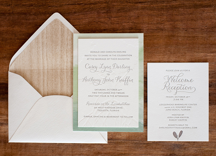 Watercolor Letterpress Wedding Invitations By Make Merry Via Oh So Beautiful Paper 6