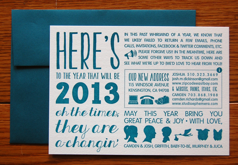 Camdens Typographic Year In Review Holiday Cards