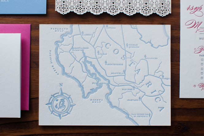 Custom Letterpress Map For Wedding Aaccomodations And Directions