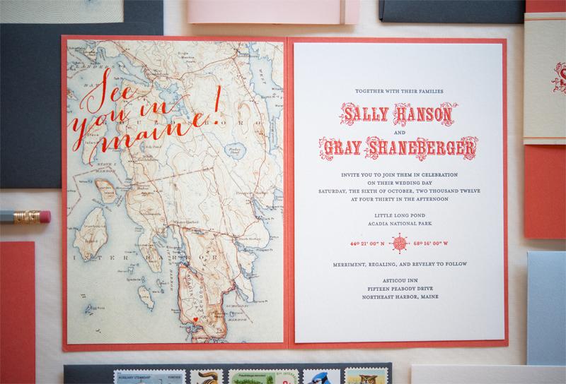 Sally Grays Maine Map Destination Wedding Invitations