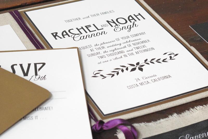 Eco Chalkboard Linen Wedding Invitations