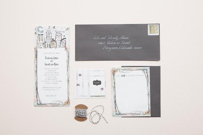 Kim Garrett S Whimsical Ilrated Nyc Wedding Invitations