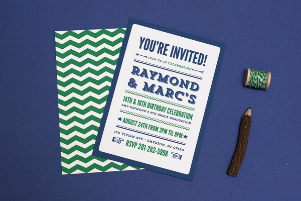 modern poster birthday party invitations