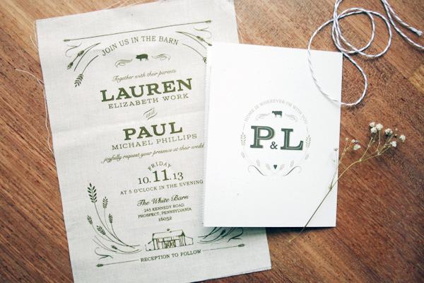 Screen Printed Fabric Wedding Invitations