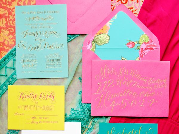 Colorful Gold Foil Wedding Invitations Jenna Blazevich