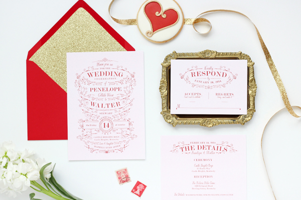 Best Red Orange And Gold Wedding Ceremony Invitation With Scrolls Stars Dots