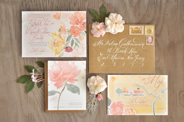 Fl Watercolor Calligraphy Wedding Invitations Julie Song Ink3