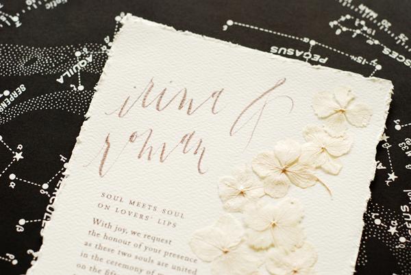 Irina + Roman's Pressed Flower Wedding Invitations