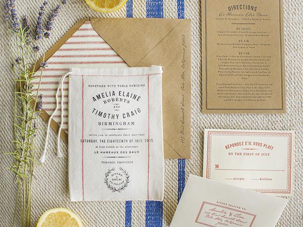 RUSTIC MARKET-INSPIRED FABRIC WEDDING INVITATIONS