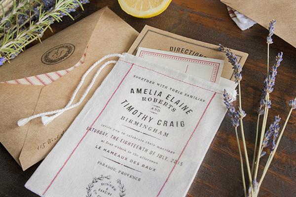 Fabric Wedding Invitations: Rustic Market-Inspired Fabric Wedding Invitations