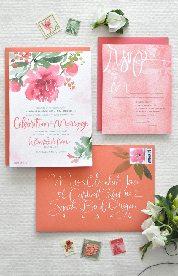 Peony Watercolor Wedding Invitation