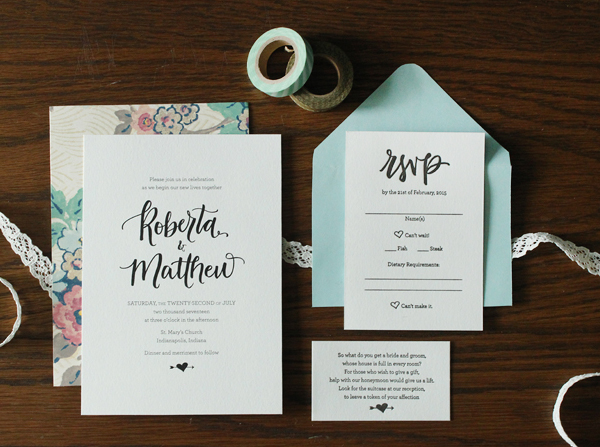 Whimsical Hand Lettered Wedding Invitations