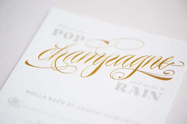 Art Deco Hollywood Regency Gold Foil Wedding Invitations