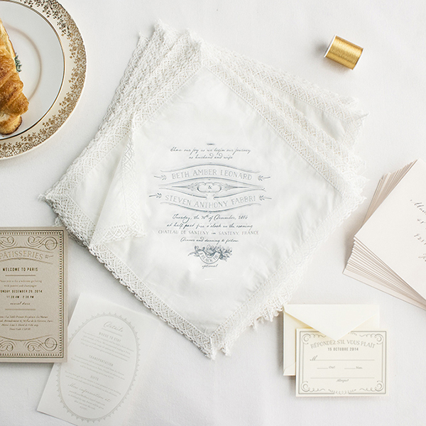 French Inspired Handkerchief Wedding Invitations