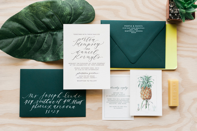 Tropical Hawaiian Calligraphy Wedding Invitations By Cast Photo Orange Photographie Oh So