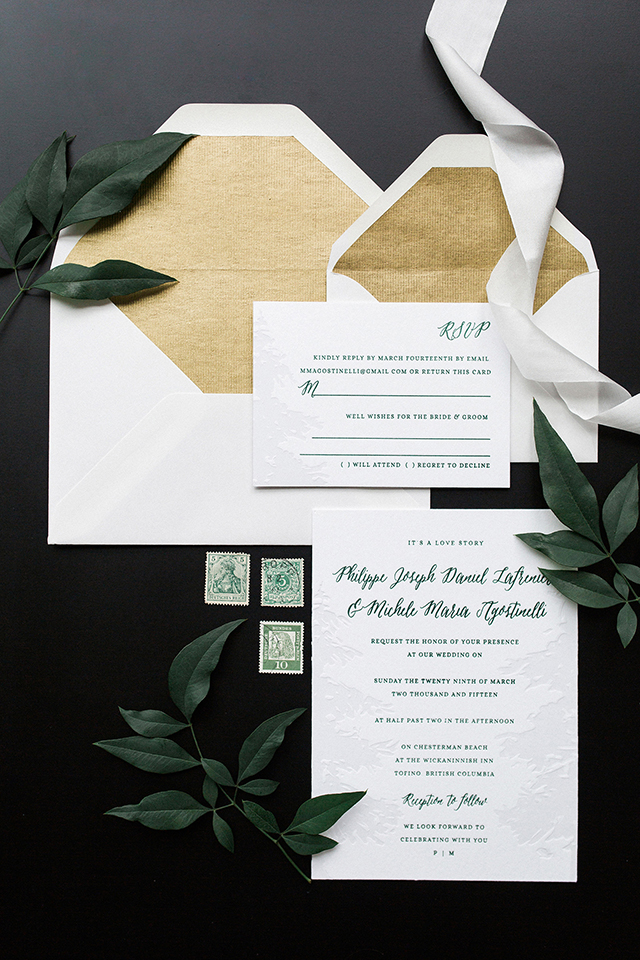 Green And White Nature Inspired Wedding Invitations
