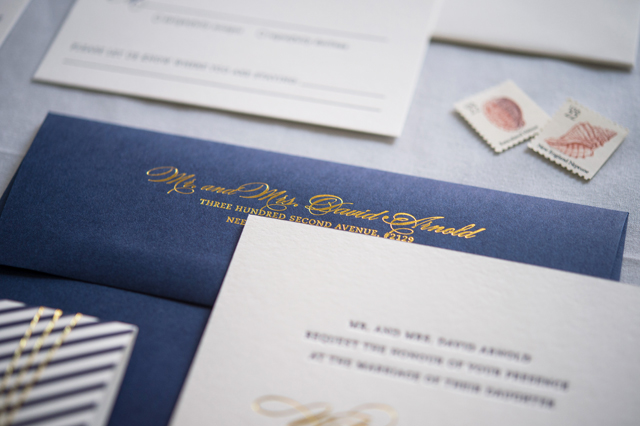 Preppy And Nautical Gold Foil Wedding Invitations