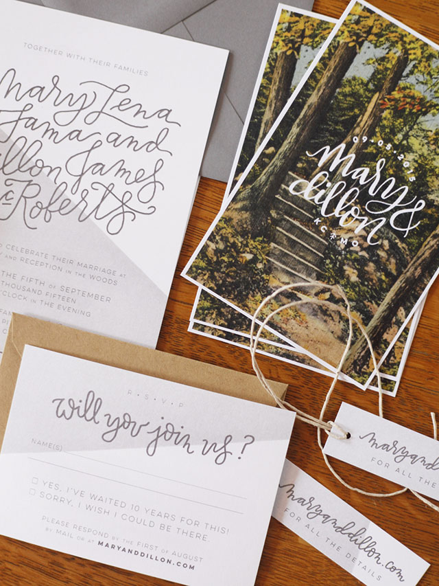 Hand Lettered Invitations For A Wedding In The Woods By Mary Fama Oh So Beautiful