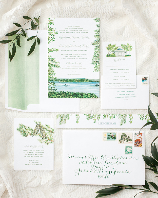 Ilrated Lakeside Wedding Invitations