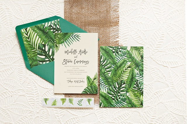 Tropical Leaf Destination Wedding Invitations