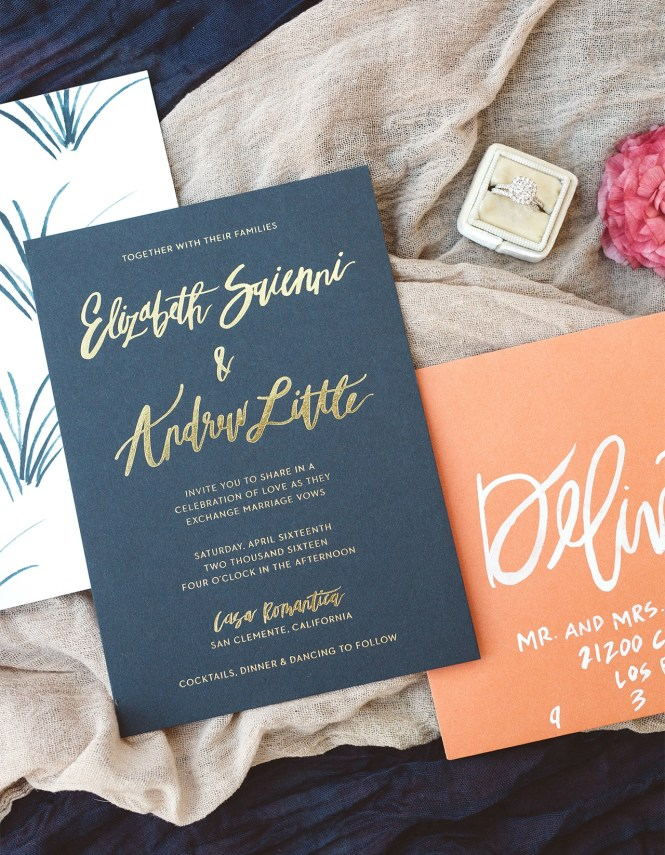 These Modern Wedding Invitations Feature Royal Blue
