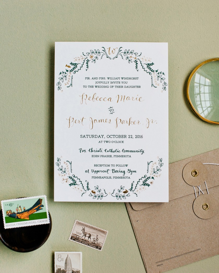 Rustic Green And Gold Foil Wedding Invitations By Printerette Press Photo Credit Melissa Oholendt