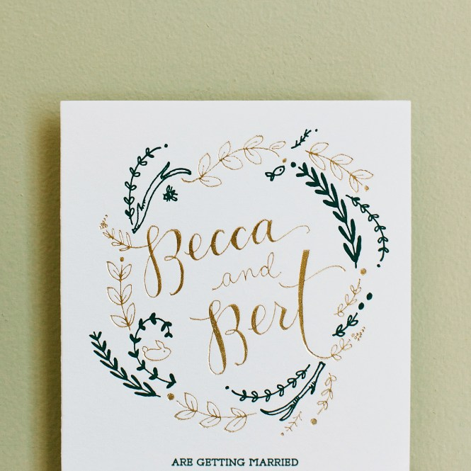 Rustic Green And Gold Foil Wedding Invitations