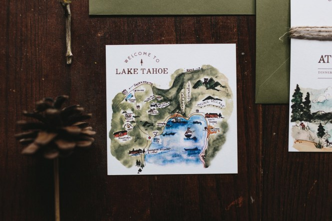 Ilrated Lake Tahoe Inspired Wedding Invitations