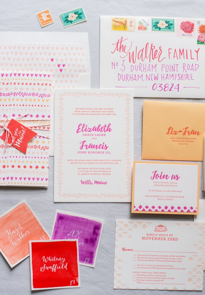 Colorful Patterned Letterpress Wedding Invitations
