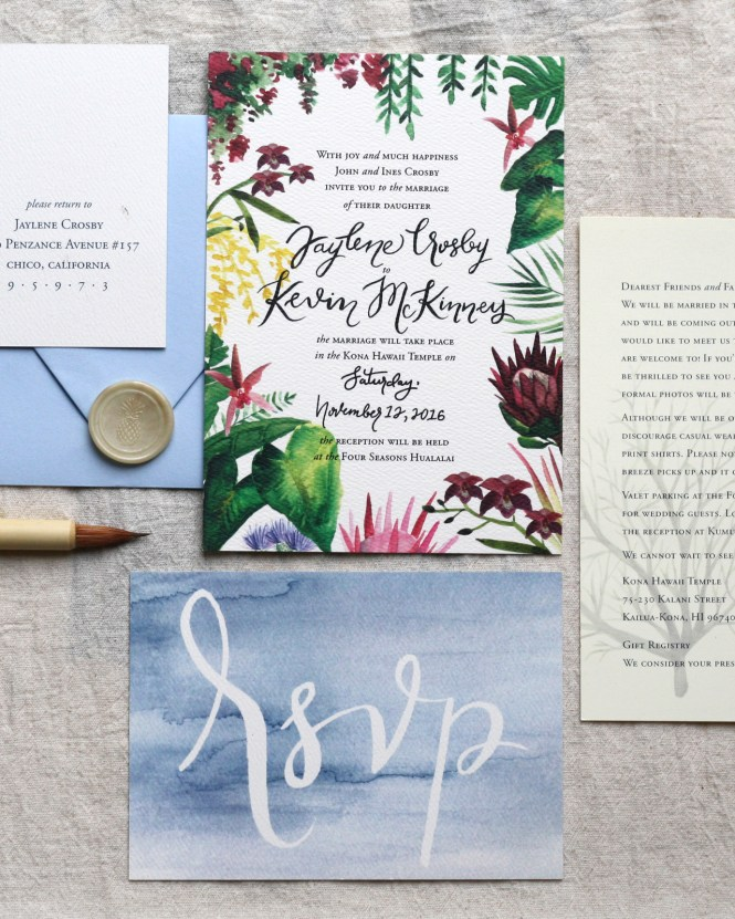 Ilrated Tropical Hawaiian Wedding Invitations