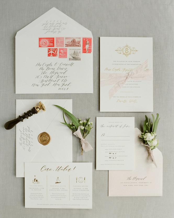 Classic Neutral Italian Destination Wedding Invitations