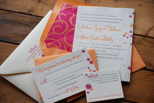 Porridge Paper Red Orange Modern Wedding Invitation