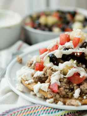 Healthy TUrkey tostadas for busy weeknights ohsweetbasil.com