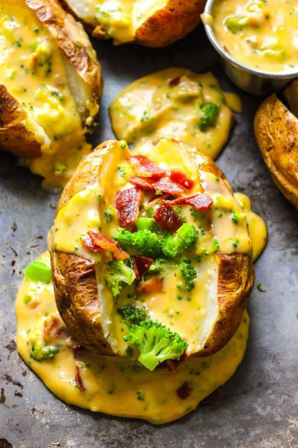 Baked Potatoes with Loaded Broccoli Bacon Cheese Sauce