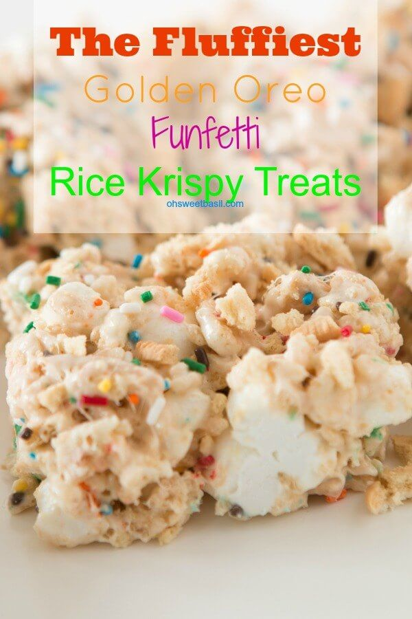 The FLUFFIEST golden oreo funfetti rice krispy treats! ohsweetbasil.com