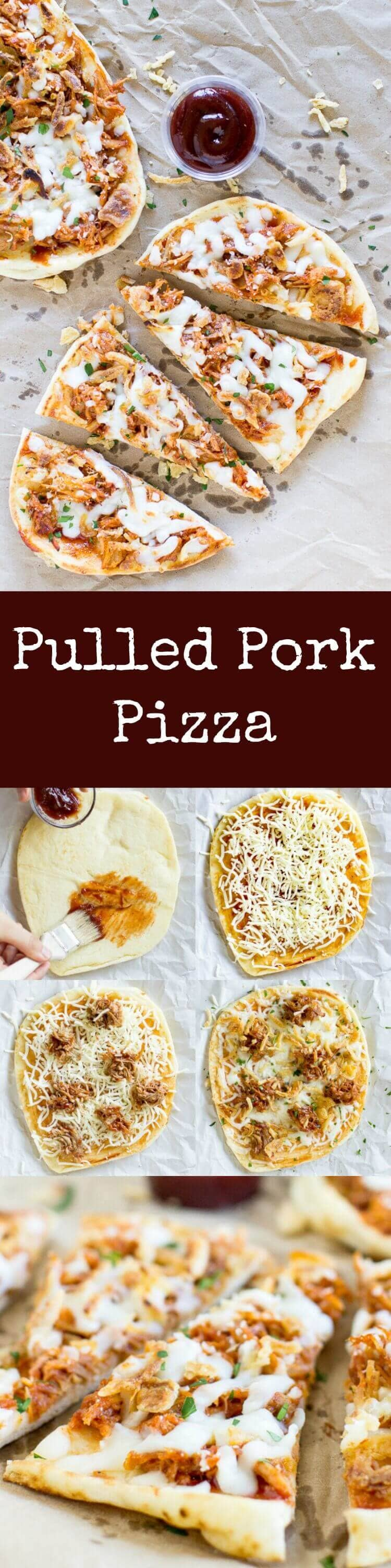 photo collage - Easy Flatbread Pulled Pork Pizza with cheese and crunchy onions with a side of delicious barbecue sauce.