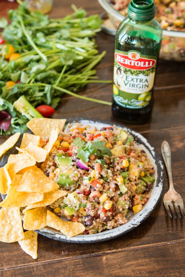 It's some of our favorites in a whole new way. Cowboy caviar quinoa is a mashup of the classic cowboy caviar salsa and a healthy quinoa side.