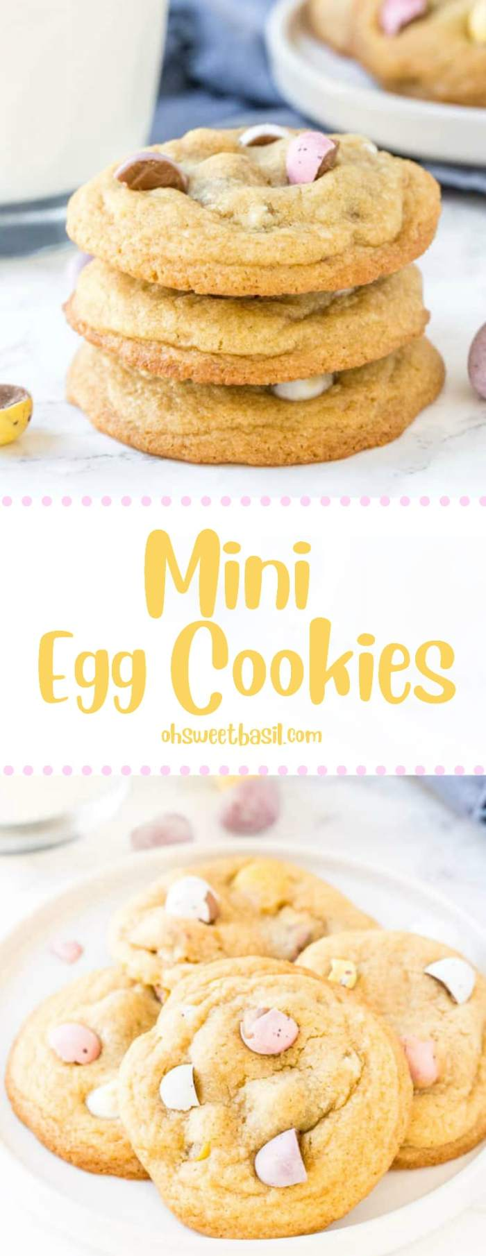 A plate of soft and chewy mini egg cookies that are perfect for Easter.