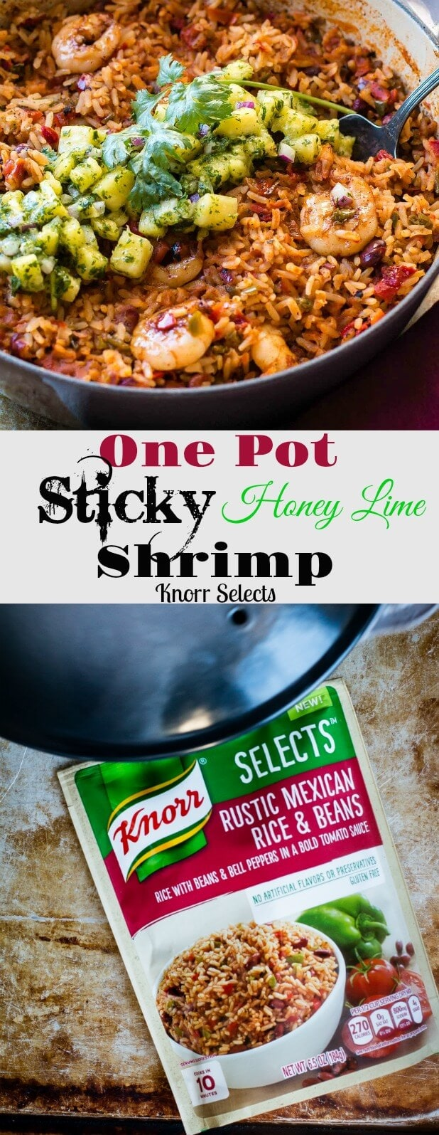 Love our sticky honey lime grilled chicken? This one pot sticky honey lime shrimp with pineapple chimichurri took meonly 20 minutes and might be even better! One pot full of spicy Mexican rice, peppers, beans and shrimp all topped off with the yummiest honey lime sauce and pineapple chimichurri ohsweetbasil.com