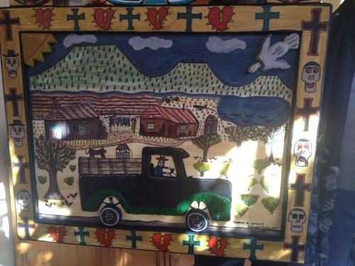 Mixed media on board -- commissioned folk art by Nicholas Herrera.
