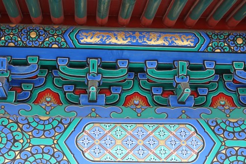 Detail under the roofline on one of the buildings in the Forbidden City