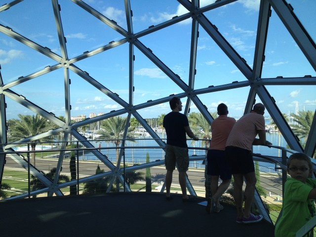 "Looking out at Tampa Bay from the ""enigma"" at the Dali Museum"